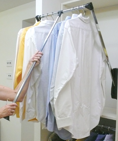 Pull down clothes rack in use